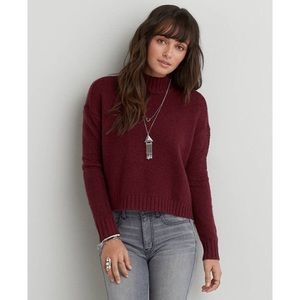 NWT Burgundy AEO Cropped Pullover Sweater